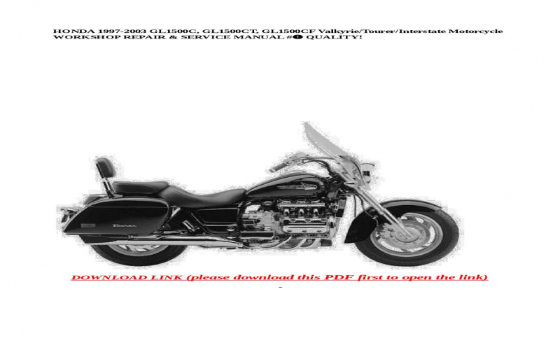 2000 Honda Valkyrie Interstate Owners Manual