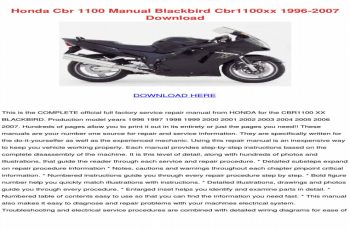 2001 Honda Blackbird Owners Manual