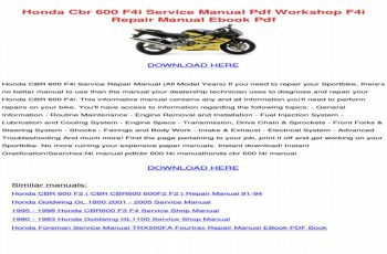 2001 Honda Cbr600f4i Owners Manual Pdf