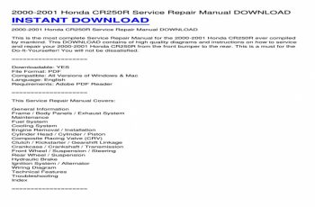 2001 Honda Cr250 Service Manual Pdf
