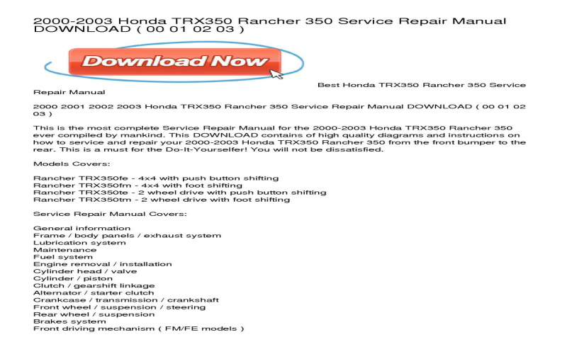 2001 Honda Rancher Owners Manual Pdf