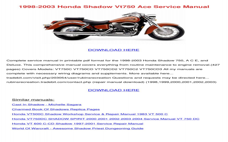 2001 Honda Shadow Vt750 Owners Manual