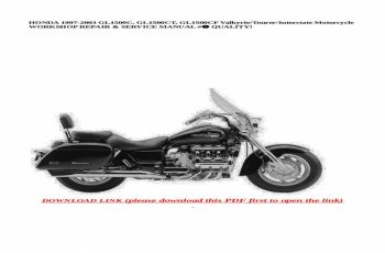 2001 Honda Valkyrie Interstate Owners Manual