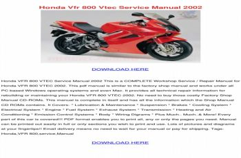 2001 Honda Vfr 800 Owners Manual