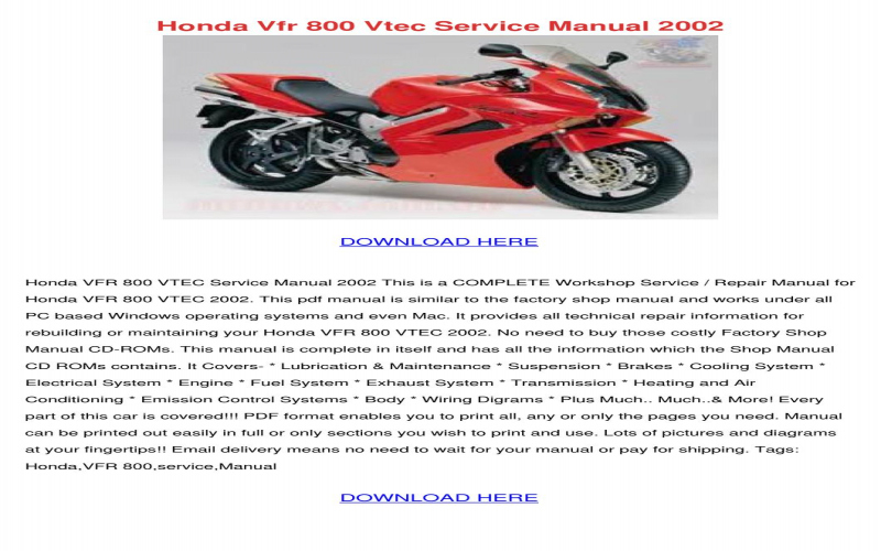 2001 Honda Vfr800 Owners Manual