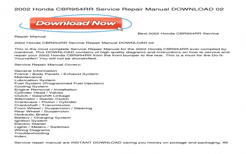 2002 Honda Cbr954rr Owners Manual