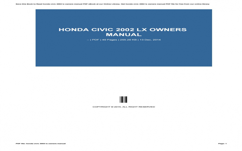 2002 Honda Civic Ex Owners Manual Pdf