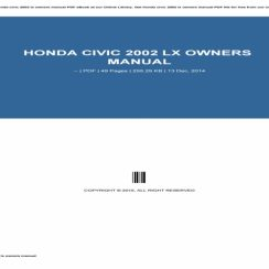 2002 Honda Civic Owners Manual Pdf
