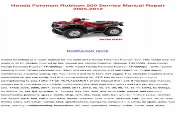 2002 Honda Rubicon Owners Manual