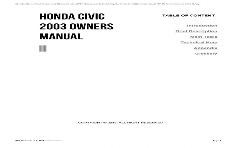 2003 Honda Civic Owners Manual Online