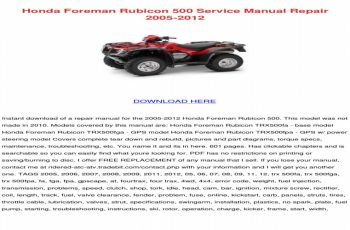 2003 Honda Rubicon 500 Owners Manual