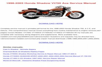 2003 Honda Shadow Ace 750 Owners Manual