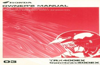 2003 Honda Trx400ex Owners Manual