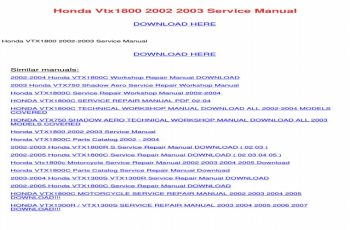 2003 Honda Vtx 1800c Owners Manual Pdf
