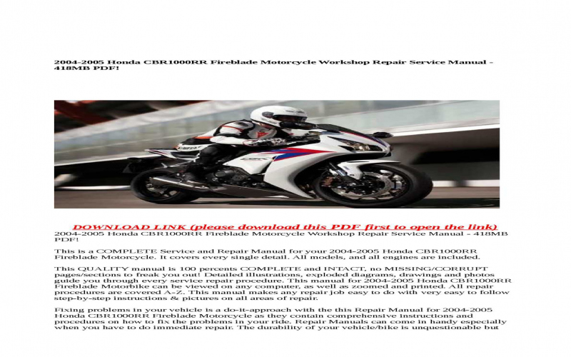 2004 Honda Cbr1000rr Service Manual Free Download