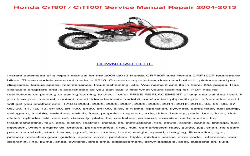 2004 Honda Crf 100 Owners Manual