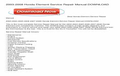 2004 Honda Element Service Manual Pdf