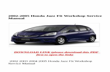 2004 Honda Fit Owners Manual Pdf