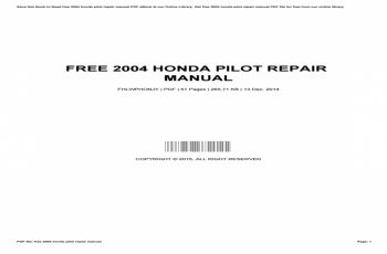 2004 Honda Pilot Owners Manual Online
