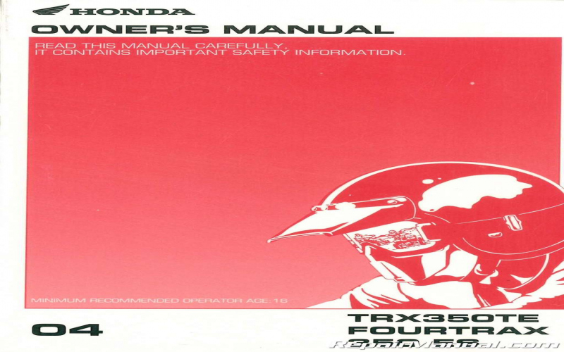 2004 Honda Rancher Atv Owners Manual