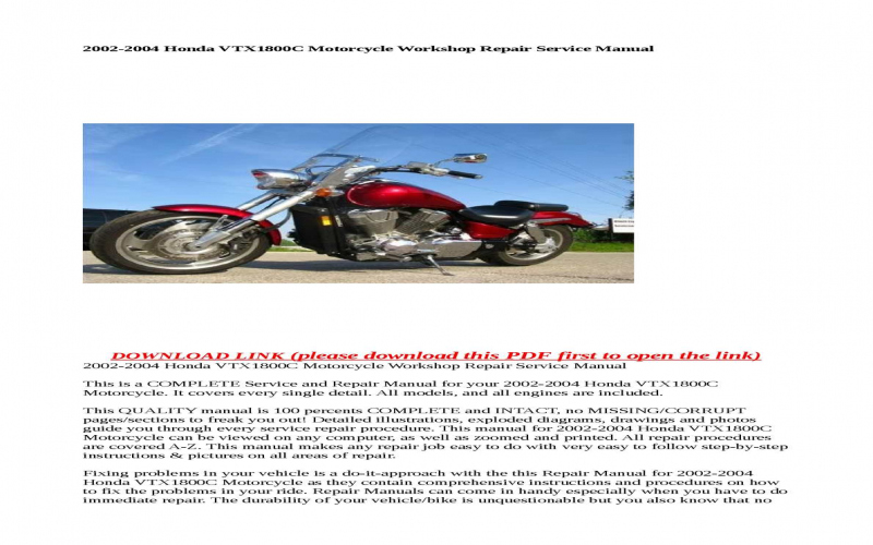 2004 Honda Vtx1800c Owners Manual