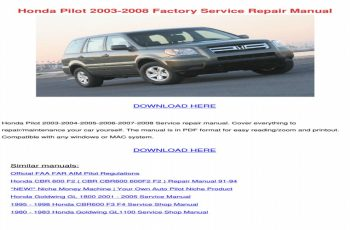 2005 Honda Pilot Ex Owners Manual