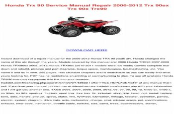 2005 Honda Trx 90 Owners Manual