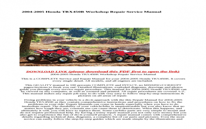 2005 Honda Trx450r Owners Manual Pdf