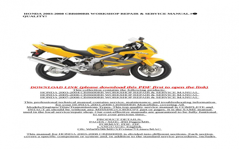 2006 Honda Cbr 600 Owners Manual