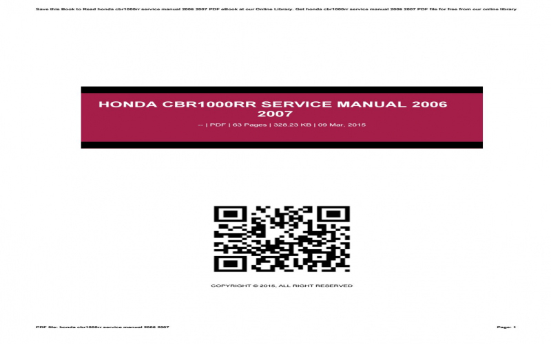 2006 Honda Cbr1000rr Service Manual Free Download