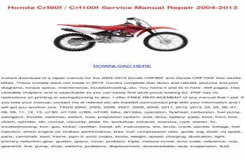 2006 Honda Crf80f Owners Manual