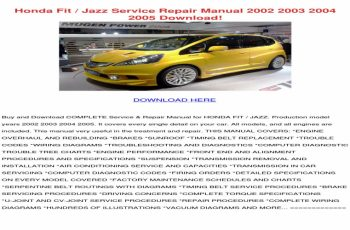2006 Honda Jazz Owners Manual Pdf
