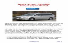 2006 Honda Odyssey Owners Manual Download