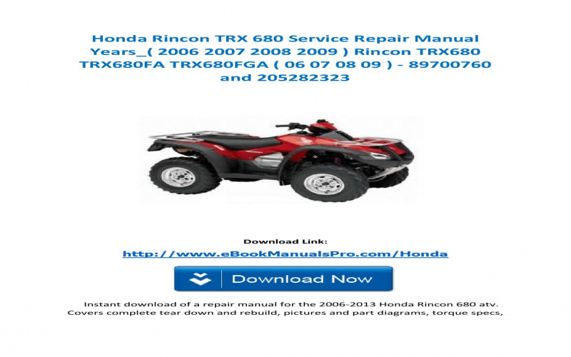 2006 Honda Rincon 680 Owners Manual