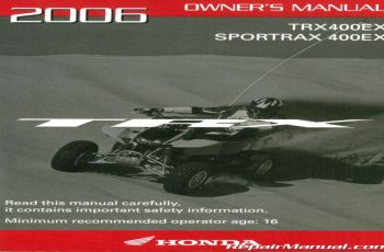 2006 Honda Trx400ex Owners Manual