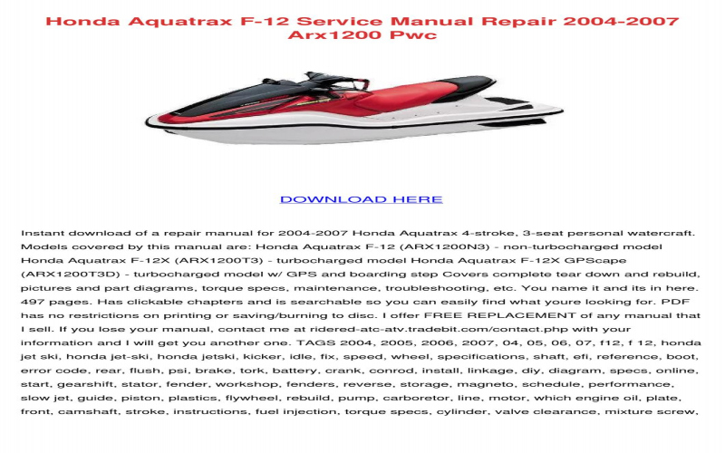 2007 Honda Aquatrax F 12x Owners Manual