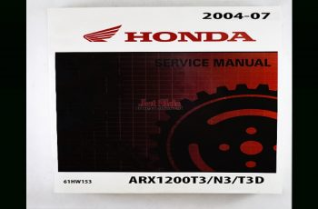 2007 Honda Aquatrax Owners Manual