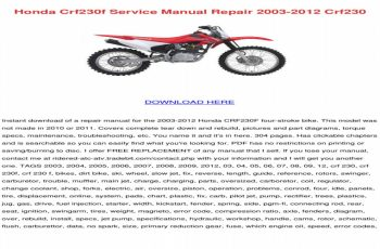 2007 Honda Crf230f Owners Manual