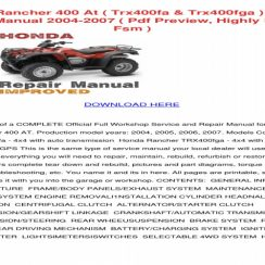 2007 Honda Rancher 400 Owners Manual