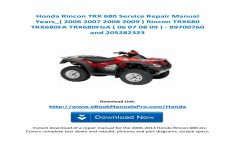 2007 Honda Rincon Owners Manual