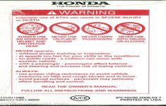 2007 Honda Trx400ex Owners Manual