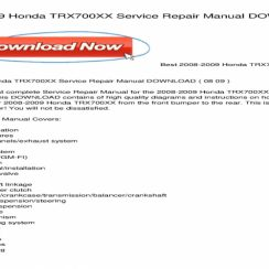2008 Honda 700xx Owners Manual