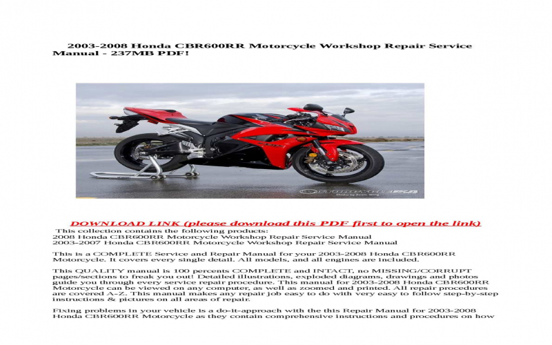 2008 Honda Cbr600rr Owners Manual Pdf