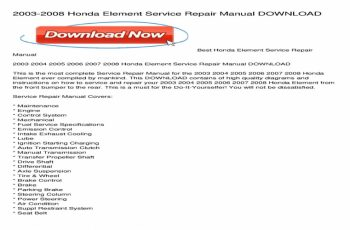 2008 Honda Element Owners Manual Pdf