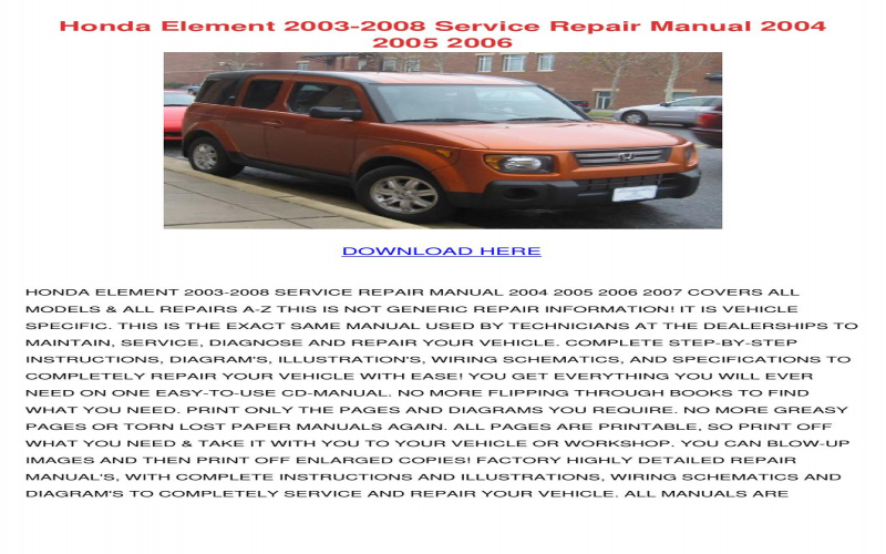 2008 Honda Element Owners Manual