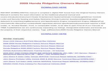 2009 Honda Ridgeline Owners Manual Download