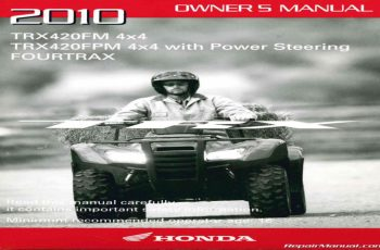 2010 Honda Rancher Owners Manual
