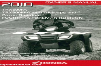 2010 Honda Rubicon Owners Manual