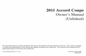 2011 Honda Accord Ex Owners Manual