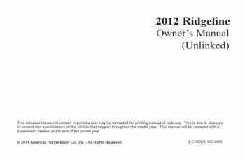 2012 Honda Ridgeline Owners Manual Pdf